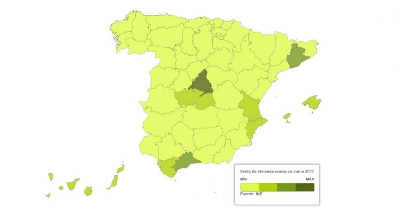 Mapa por provincias para saber dónde se vendieron más y menos viviendas nuevas y usadas
